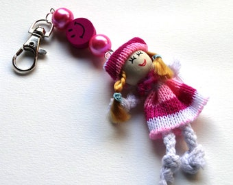 Jewelry Keychain Briefcase or backpack with a pink doll - kids gift idea