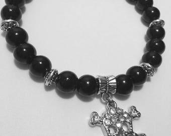Jeweled Skull and Bones Beaded Bracelet