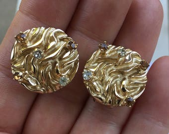 Vintage Bergere Gold Tone with Rhinestones Clip Earrings