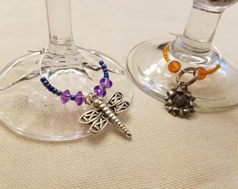 Hand-Beaded Wineglass Identifiers, charms for wine, colorful
