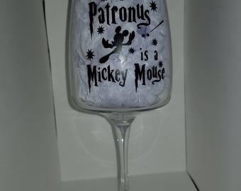My Patronus is Mickey Mouse Wine Glass