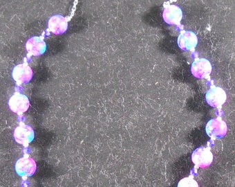 Necklace - Purple and Blue Glassbeads