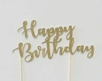 Happy Birthday Cake Topper - GOLD - Glitter Cake Topper - Birthday
