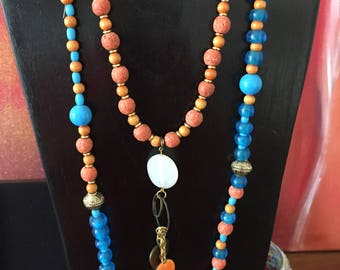long double turquoise and orange 2 in 1 necklace