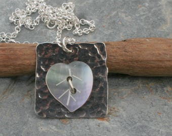 Sterling Silver Pendant with heart shape shell
