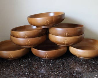 Baribocraft Wood Salad Bowls, Carved Wheat Pattern - Set of 8