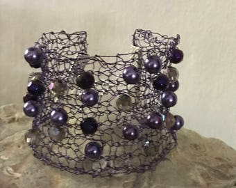 Knitted Wire and Bead Bracelet