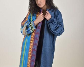 Ankara Wool and Denim Twist Combo Jacket
