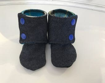 Denim Baby Booties, size 0-3 months.