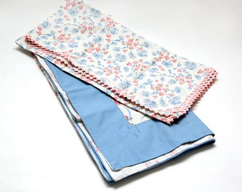 2 Vintage Tablecloths Home Made 1950's