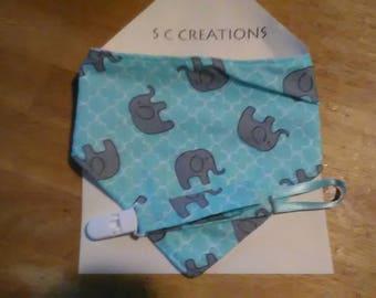 Mint Green with Elephants Bandana Bib & Pacifier Clip Gift Set