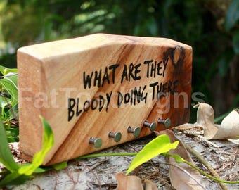Reclaimed Timber Key Block, Eucalyptus, Key Rack, Key Ring Holder, Handmade, Hand Painted, Key Hanger, Rustic, Nails, Fun Sayings, Wood