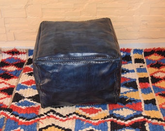 Moroccan leather, ottoman square dark blue jeans pouf, square handmade footstool