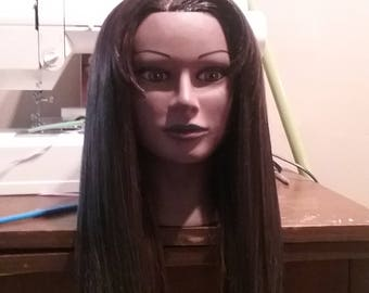 U part wig with clips on inside human hair blend