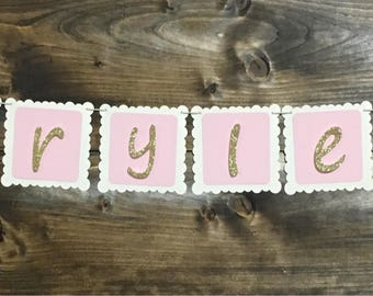 Bassinet Banner, Gold and Pink
