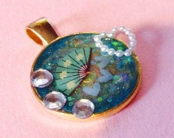 Handmade ONE OF A KIND Decorated Resin Pendant
