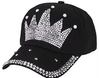 Crown Rhinestone Embellished Denim Baseball Cap - Black