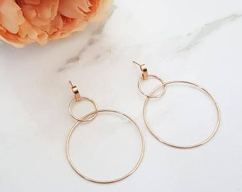 Interlinked Gold Hoop Earrings || Geometric Jewellery || Minimal Jewellery