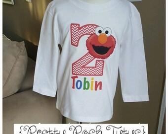 Elmo boy or girl Birthday Shirt!!  Sesame Street Birthday shirt! Any age and name! 2t 3t 4t 5t 6/6x- long sleeve