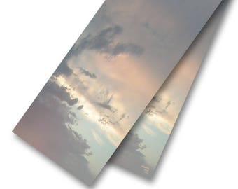 Long, Soft-Coloured Sunset Silk Scarf, Sky & Clouds Scenic Photo Art Scarf Image Featuring Grey, Brown, Aqua and Peach, Made in Canada