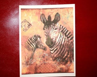 "ART PRINT Zebra Mom and Baby 8 1/2""x 11"""