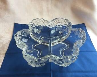 Vintage Mikasa crystal divided dish