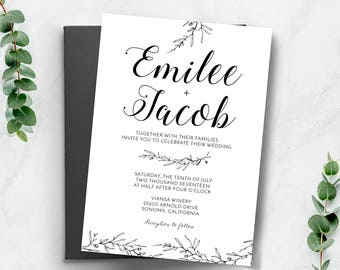 Simple Wedding invitation template | Black and White Invitation | Printable Wedding Invitation | Classic Wedding Invitation