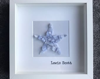 Blue Lace Agate Star Frame, personalised