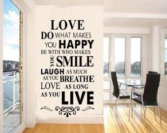 Love Motivational Wall Sticker Decal Inspirational Quote Wall Sticker Decal XL