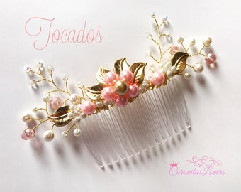 Bohemian Leaf Bridal Comb with Crystals and Perls, Wedding Hair Accessories, Bridal Hair Pieces, Bridesmaid Jewelry, Floral Wedding Comb