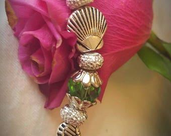 Seahorse Green Crystal Bracelet w/matching Earrings