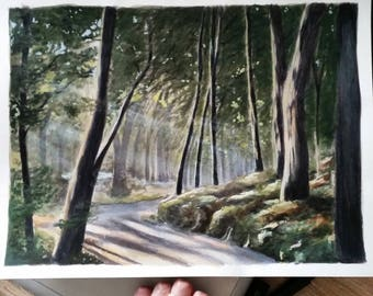 Acrylic painting of a forest /Peinture acrylic with a wood