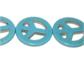 34mm Turquoise Peace Sign Pendant, 3 pendants