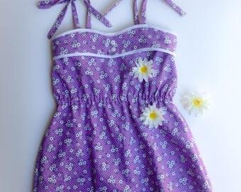 Easter dress / ulraviolet dress / girls easter dress / spring sundress / vintage style dress / girls floral dress / bridal shower dress /