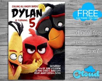 Angry Birds, Angry Birds Birthday Invitation, Angry Birds Invites, Birds Party, Birthday Printables