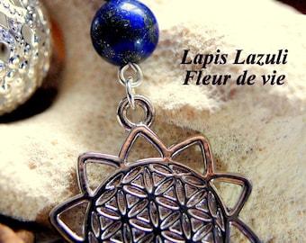 Gemstone beads and flower of life pendant