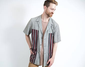 Vintage Long Striped Shirt / 1970's Mens Large Howard Sportswear Short Sleeved Button up Causal Lounge Grey Summer Striped Shirt