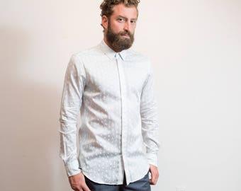 Alexander McQueen Shirt / Mens Designer Skull Pattern White Long Sleeved Medium Size Button Dress Shirt
