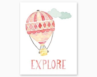 EXPLORE NURSERY ART, Nursery Quote, Explore Nursery Printable, Hot Air Balloon, Pink Yellow Nursery, New Baby Gift, Instant Download