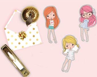 Cute Girls Die Cut, Beautiful Girl Planner Die Cuts, Scrapbook Accessory, Paper Decor Party Decoration