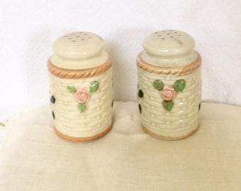 Vintage Floral Basket Salt and Pepper Shakers Hand Painted Japan