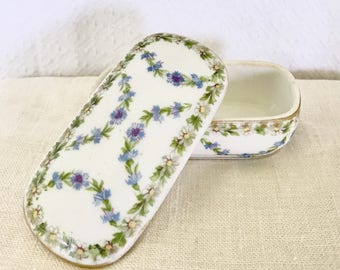 Imperial Crown China Floral Trinket Box