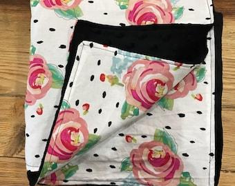 Floral & Black Dot Baby Girl Blanket