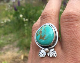 Turquoise and Sterling Silver 'New Bloom' ring