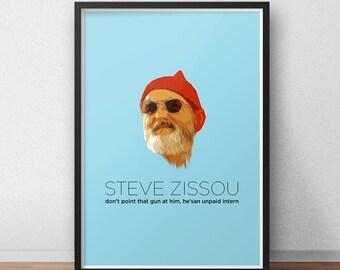 Steve Zissou - Steve Zissou poster - Steve Zissou print - Bill Murray - Wes Anderson Print - The Life Aquatic - The Life Aquatic poster