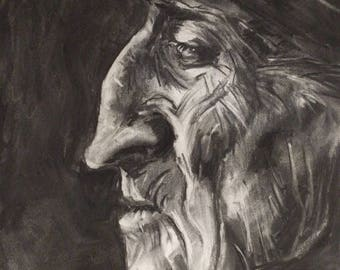"Contemplative Old Man, 18""x24"" original charcoal drawing"