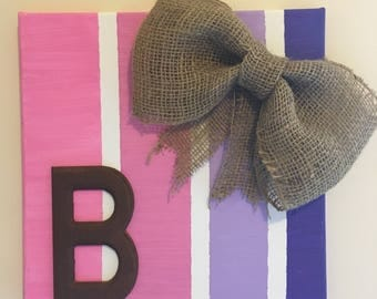 Striped purple and pink canvas with burlap and the letter B