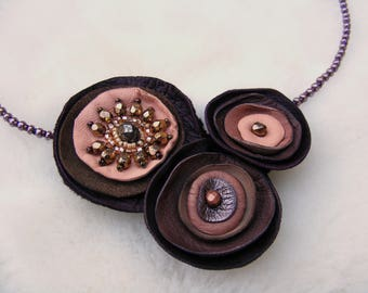 Brown and Pale Pink Leather Necklace