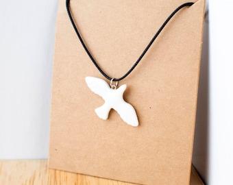 Bird white ceramic pendant necklace