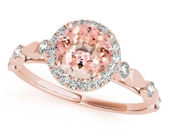 1.20 Ct. Halo Morganite And Diamond Engagement Wedding  Ring In 14k Gold
